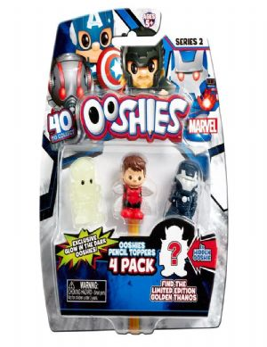Ooshies 4 Pack Series 2 Marvel Pencil Toppers Tony Stark, Commander Rogers